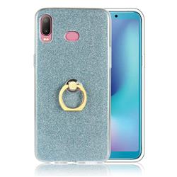 Luxury Soft TPU Glitter Back Ring Cover with 360 Rotate Finger Holder Buckle for Samsung Galaxy A6s - Blue