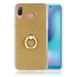 Luxury Soft TPU Glitter Back Ring Cover with 360 Rotate Finger Holder Buckle for Samsung Galaxy A6s - Golden