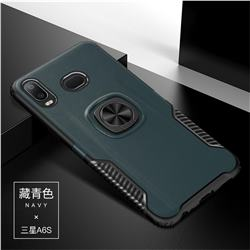 Knight Armor Anti Drop PC + Silicone Invisible Ring Holder Phone Cover for Samsung Galaxy A6s - Navy