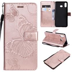 Embossing 3D Butterfly Leather Wallet Case for Samsung Galaxy A6s - Rose Gold