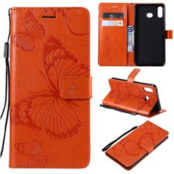Embossing 3D Butterfly Leather Wallet Case for Samsung Galaxy A6s - Orange