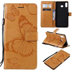 Embossing 3D Butterfly Leather Wallet Case for Samsung Galaxy A6s - Yellow