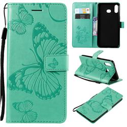 Embossing 3D Butterfly Leather Wallet Case for Samsung Galaxy A6s - Green