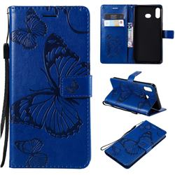 Embossing 3D Butterfly Leather Wallet Case for Samsung Galaxy A6s - Blue