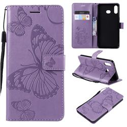 Embossing 3D Butterfly Leather Wallet Case for Samsung Galaxy A6s - Purple