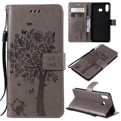 Embossing Butterfly Tree Leather Wallet Case for Samsung Galaxy A6s - Grey