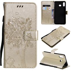 Embossing Butterfly Tree Leather Wallet Case for Samsung Galaxy A6s - Champagne