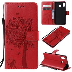 Embossing Butterfly Tree Leather Wallet Case for Samsung Galaxy A6s - Red