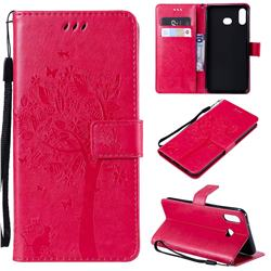Embossing Butterfly Tree Leather Wallet Case for Samsung Galaxy A6s - Rose