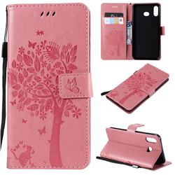 Embossing Butterfly Tree Leather Wallet Case for Samsung Galaxy A6s - Pink