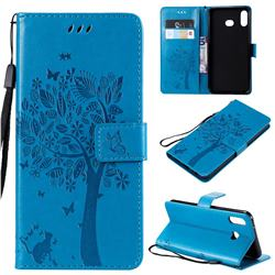 Embossing Butterfly Tree Leather Wallet Case for Samsung Galaxy A6s - Blue