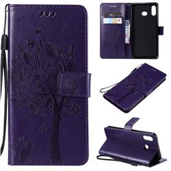 Embossing Butterfly Tree Leather Wallet Case for Samsung Galaxy A6s - Purple