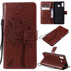Embossing Butterfly Tree Leather Wallet Case for Samsung Galaxy A6s - Coffee