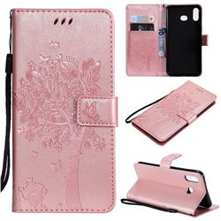 Embossing Butterfly Tree Leather Wallet Case for Samsung Galaxy A6s - Rose Pink