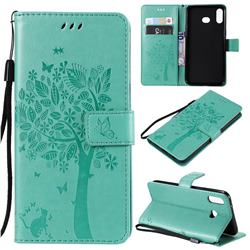 Embossing Butterfly Tree Leather Wallet Case for Samsung Galaxy A6s - Cyan