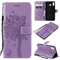 Embossing Butterfly Tree Leather Wallet Case for Samsung Galaxy A6s - Violet