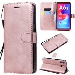Retro Greek Classic Smooth PU Leather Wallet Phone Case for Samsung Galaxy A6s - Rose Gold