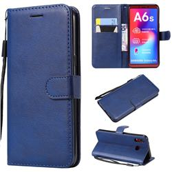 Retro Greek Classic Smooth PU Leather Wallet Phone Case for Samsung Galaxy A6s - Blue