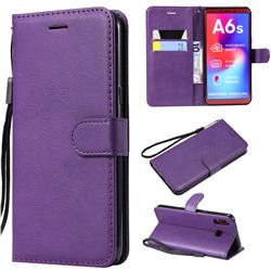 Retro Greek Classic Smooth PU Leather Wallet Phone Case for Samsung Galaxy A6s - Purple