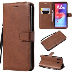 Retro Greek Classic Smooth PU Leather Wallet Phone Case for Samsung Galaxy A6s - Brown