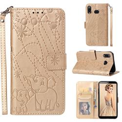 Embossing Fireworks Elephant Leather Wallet Case for Samsung Galaxy A6s - Golden