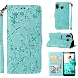 Embossing Fireworks Elephant Leather Wallet Case for Samsung Galaxy A6s - Green