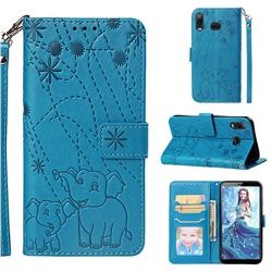 Embossing Fireworks Elephant Leather Wallet Case for Samsung Galaxy A6s - Blue