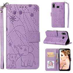 Embossing Fireworks Elephant Leather Wallet Case for Samsung Galaxy A6s - Purple