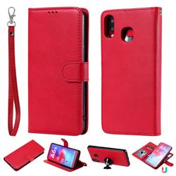 Retro Greek Detachable Magnetic PU Leather Wallet Phone Case for Samsung Galaxy A6s - Red