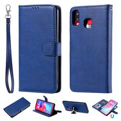 Retro Greek Detachable Magnetic PU Leather Wallet Phone Case for Samsung Galaxy A6s - Blue