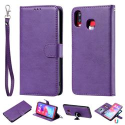Retro Greek Detachable Magnetic PU Leather Wallet Phone Case for Samsung Galaxy A6s - Purple
