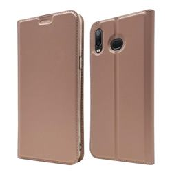 Ultra Slim Card Magnetic Automatic Suction Leather Wallet Case for Samsung Galaxy A6s - Rose Gold