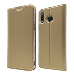 Ultra Slim Card Magnetic Automatic Suction Leather Wallet Case for Samsung Galaxy A6s - Champagne