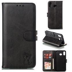 Embossing Happy Cat Leather Wallet Case for Samsung Galaxy A6s - Black