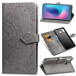 Embossing Imprint Mandala Flower Leather Wallet Case for Samsung Galaxy A6s - Gray
