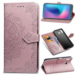 Embossing Imprint Mandala Flower Leather Wallet Case for Samsung Galaxy A6s - Rose Gold