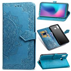 Embossing Imprint Mandala Flower Leather Wallet Case for Samsung Galaxy A6s - Blue