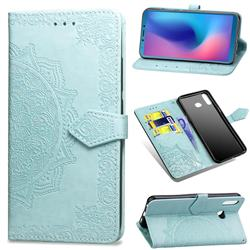 Embossing Imprint Mandala Flower Leather Wallet Case for Samsung Galaxy A6s - Green