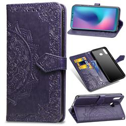 Embossing Imprint Mandala Flower Leather Wallet Case for Samsung Galaxy A6s - Purple