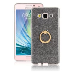 Luxury Soft TPU Glitter Back Ring Cover with 360 Rotate Finger Holder Buckle for Samsung Galaxy A7 2015 A700 - Black