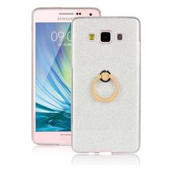 Luxury Soft TPU Glitter Back Ring Cover with 360 Rotate Finger Holder Buckle for Samsung Galaxy A7 2015 A700 - White