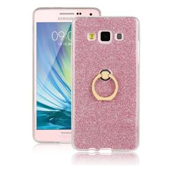 Luxury Soft TPU Glitter Back Ring Cover with 360 Rotate Finger Holder Buckle for Samsung Galaxy A7 2015 A700 - Pink