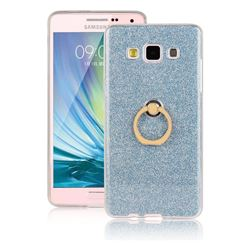 Luxury Soft TPU Glitter Back Ring Cover with 360 Rotate Finger Holder Buckle for Samsung Galaxy A7 2015 A700 - Blue