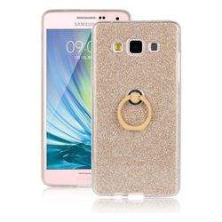 Luxury Soft TPU Glitter Back Ring Cover with 360 Rotate Finger Holder Buckle for Samsung Galaxy A7 2015 A700 - Golden