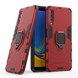 Black Panther Armor Metal Ring Grip Shockproof Dual Layer Rugged Hard Cover for Samsung Galaxy A7 2015 A700 - Red