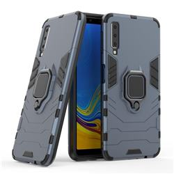 Black Panther Armor Metal Ring Grip Shockproof Dual Layer Rugged Hard Cover for Samsung Galaxy A7 2015 A700 - Blue