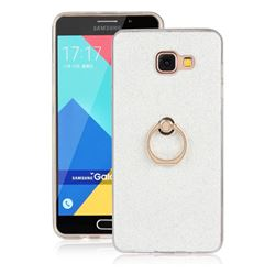 Luxury Soft TPU Glitter Back Ring Cover with 360 Rotate Finger Holder Buckle for Samsung Galaxy A7 2016 A710 - White