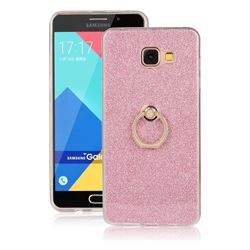 Luxury Soft TPU Glitter Back Ring Cover with 360 Rotate Finger Holder Buckle for Samsung Galaxy A7 2016 A710 - Pink