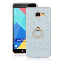 Luxury Soft TPU Glitter Back Ring Cover with 360 Rotate Finger Holder Buckle for Samsung Galaxy A7 2016 A710 - Blue