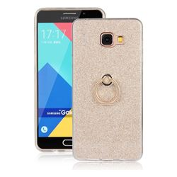 Luxury Soft TPU Glitter Back Ring Cover with 360 Rotate Finger Holder Buckle for Samsung Galaxy A7 2016 A710 - Golden